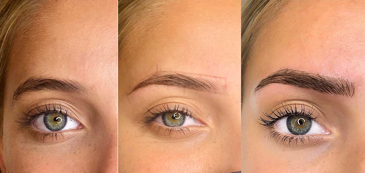 Microblading before and after in BeautyBoss academy